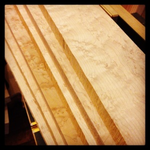 Curly birdseye maple neck blanks